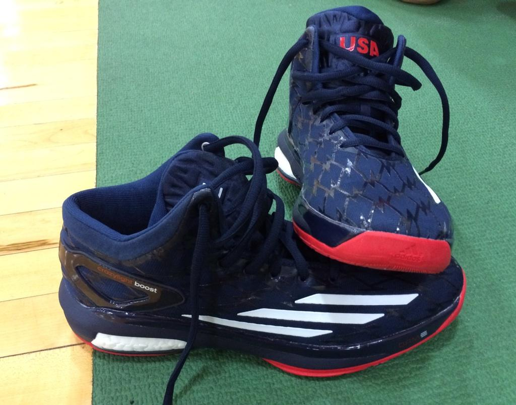 64164b03f72 Dame Lillard wearing adidas Crazylight Boost USA Away