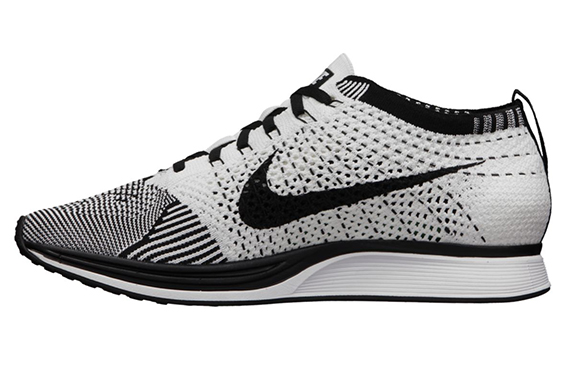 3a9d4bbc8c8 The Black White Nike Flyknit Racer is now available from NikeStore.