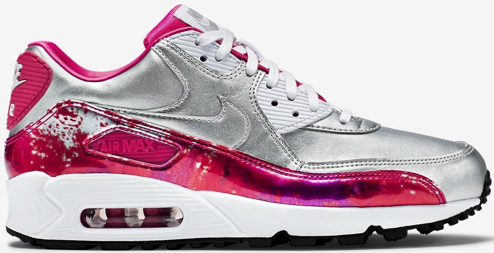 Nike Air Max '90 Premium Women's Metallic Silver/Pink Pow-Fireberry-White
