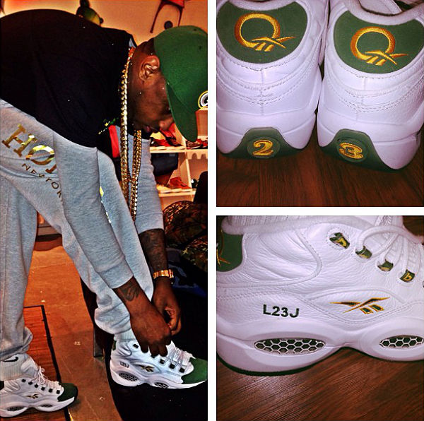Fabolous wearing Packer Shoes x Reebok Question LeBron