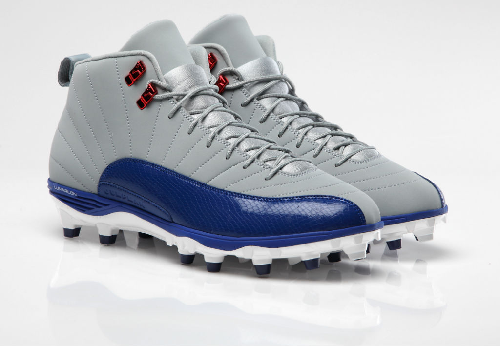 Air Jordan 12 XII PE Cleats Hakeem Nicks Grey/Blue