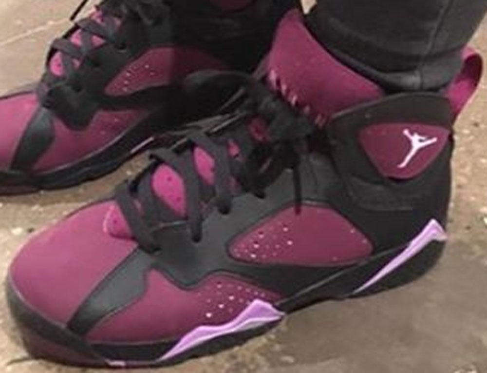 Girls Air Jordan 7 Retro Black/Fuchsia Glow-Mulberry