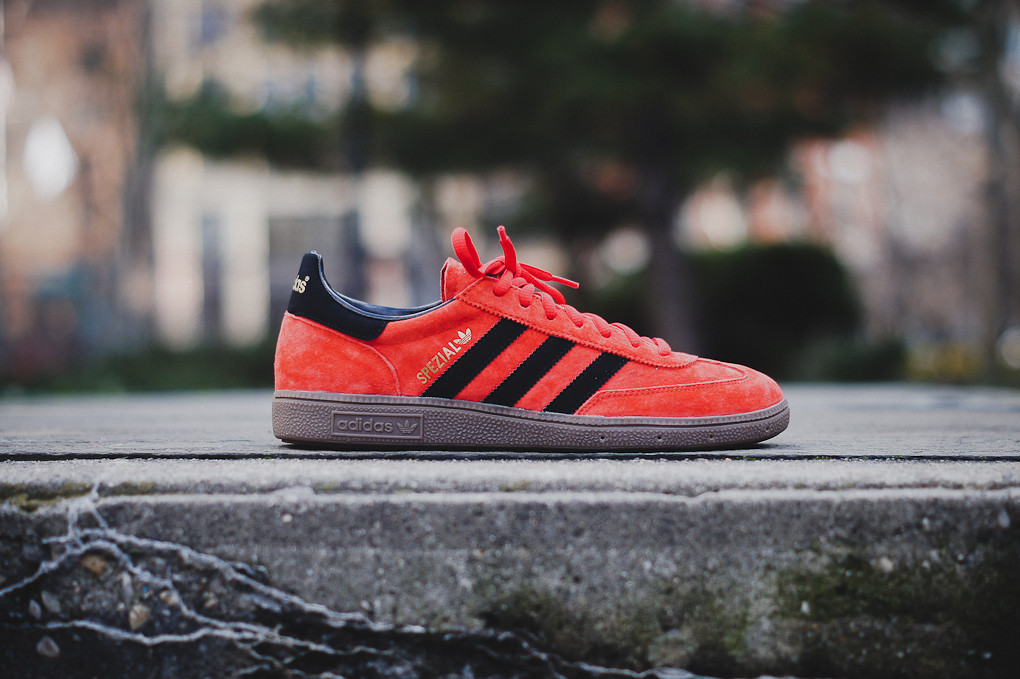 You can pick up the simple, yet eye catching Vivid Red colorway of the  Spezial now at select adidas retailers like Kith NYC.