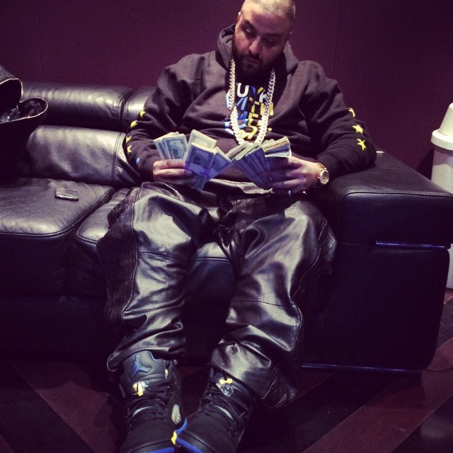 DJ Khaled wearing Air Jordan 5 Shanghai
