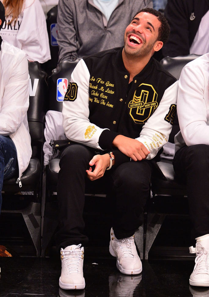 Drake Wearing White 'OVO' Air Jordan 12 (6)