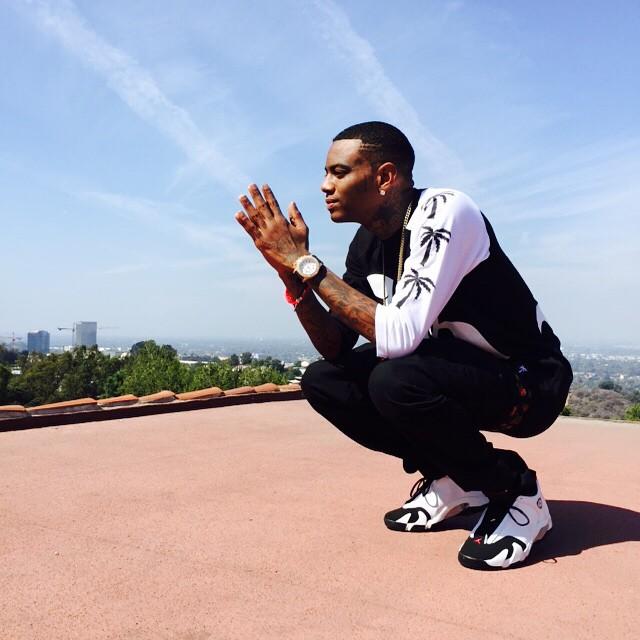 8b342773ba9fe7 Soulja Boy wearing Air Jordan XIV 14 Black Toe
