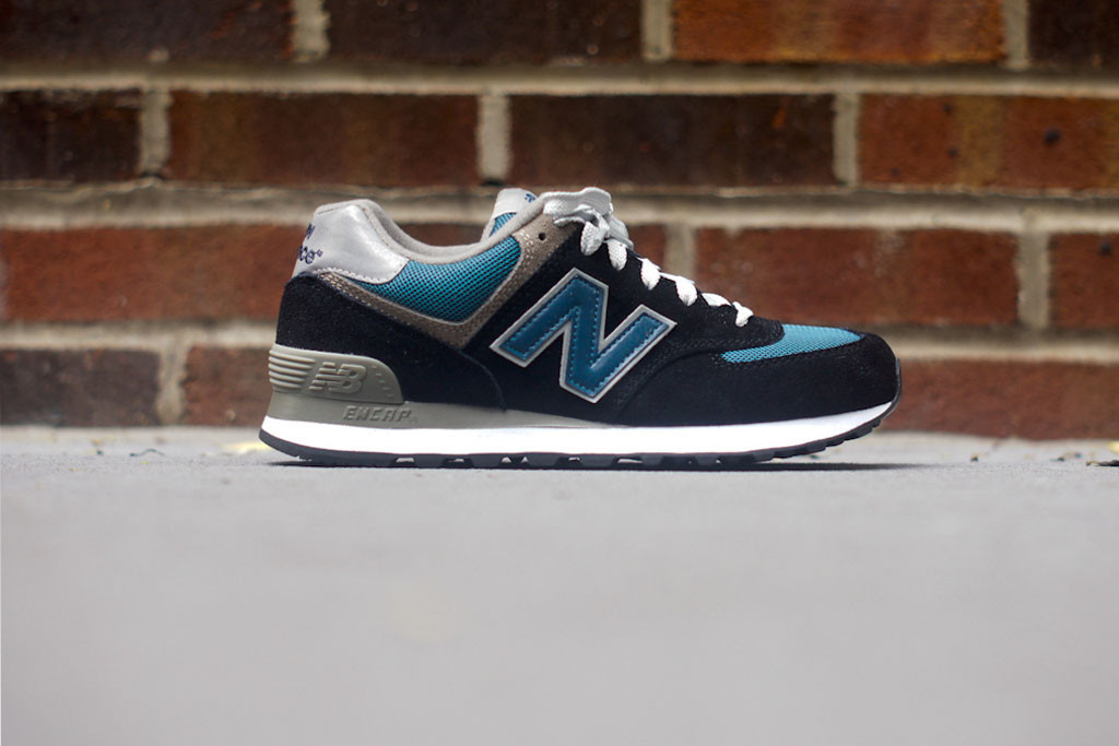 grey new balance 574 womens navy suede