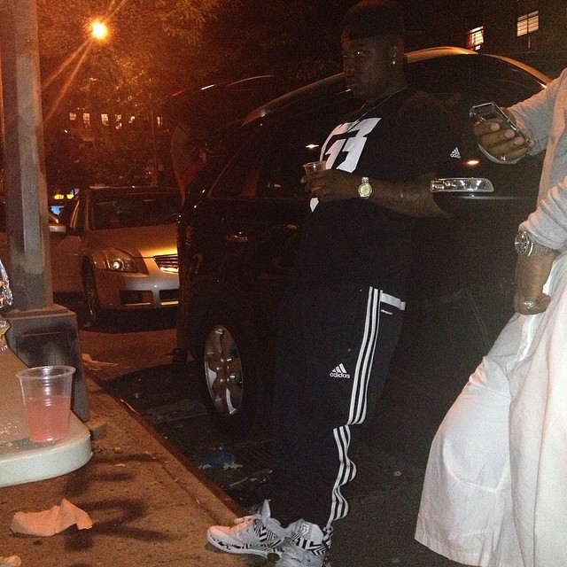 Troy Ave wearing adidas RG3 Boost Trainer Carmouflage