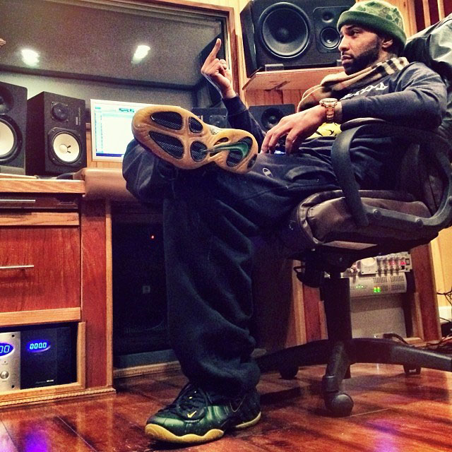 Joe Budden wearing Nike Air Foamposite Pro Custom