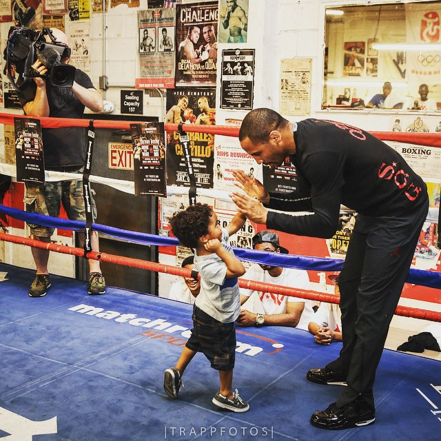 Andre Ward wearing the Air Jordan 11Lab4 Black