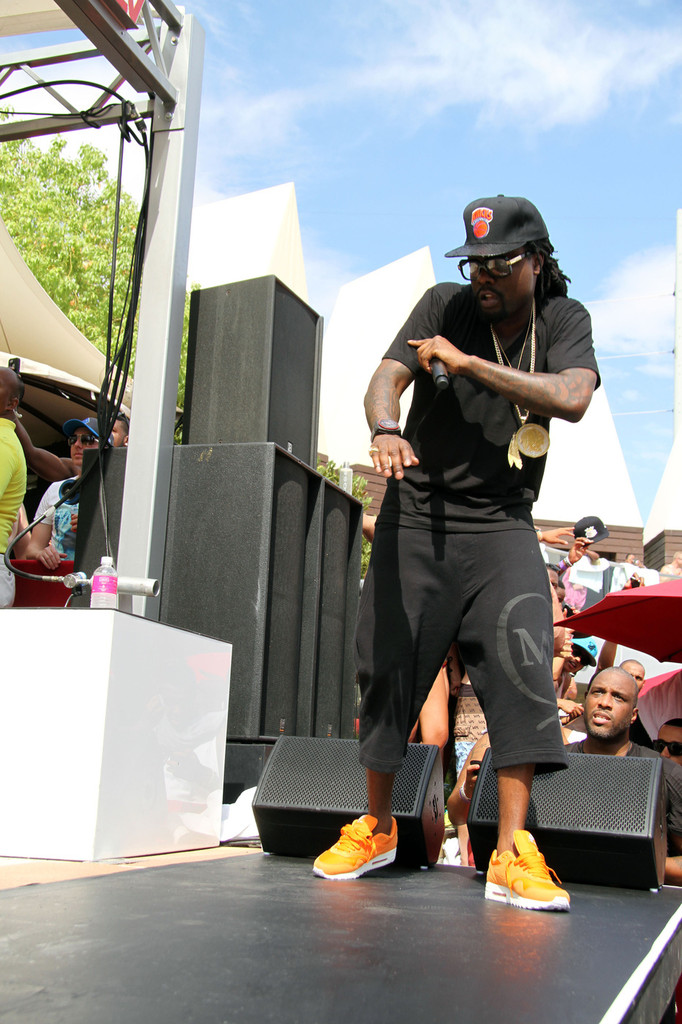 Wale wearing Nike Air Max 1 Orange Ripstop Nylon Pack (1)