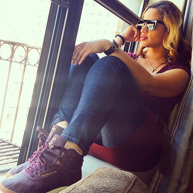 Dascha Polanco wearing Reebok Freestyle Hi Exotic