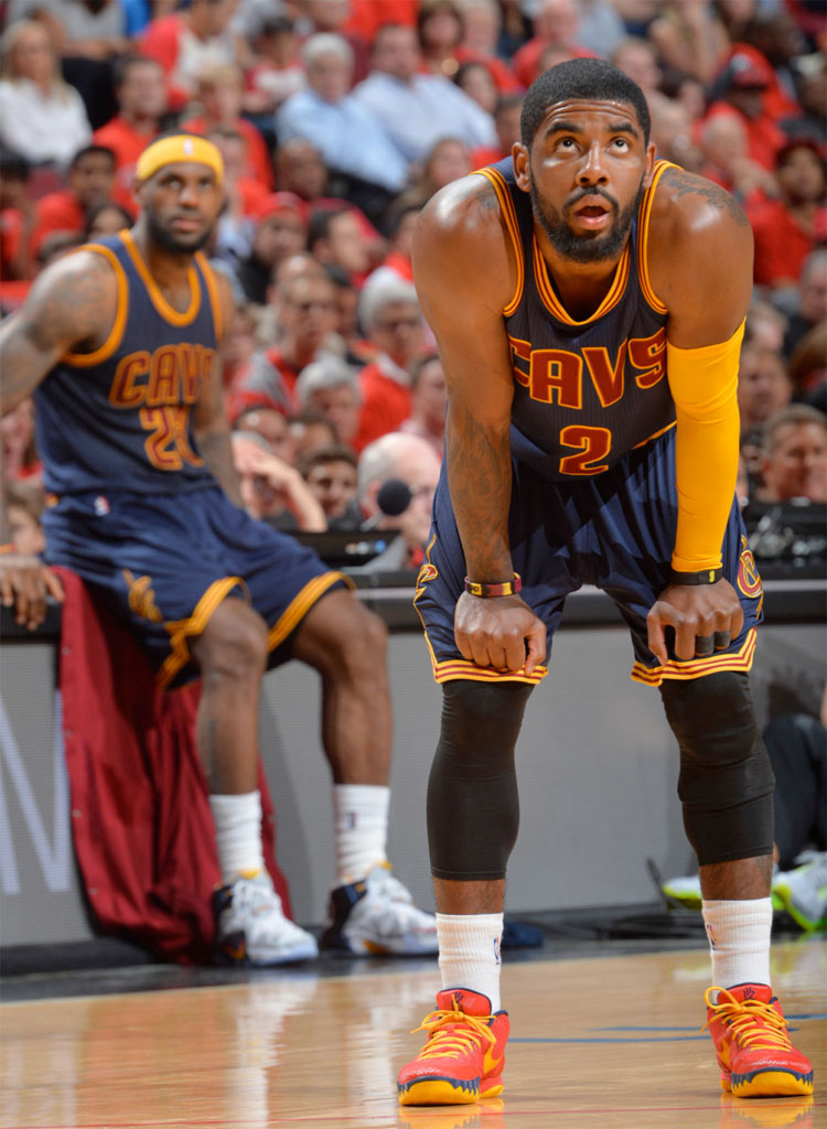 new product 02a9f 23271 Kyrie Irving wearing a Red Navy Yellow Cavs Nike Kyrie 1 PE (3