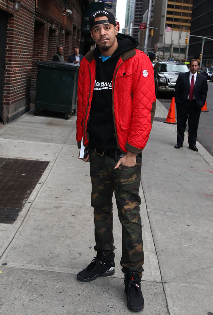 J. Cole wearing Air Jordan 8 VIII Retro Playoffs