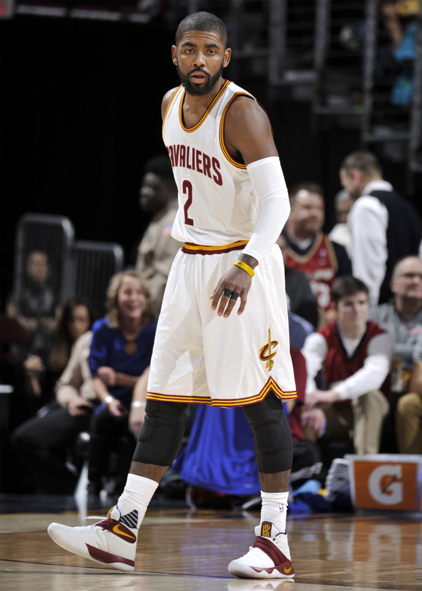 best authentic 0538f 780c6 Kyrie Irving wearing a  Cavs  Nike Kyrie 2 PE (3)