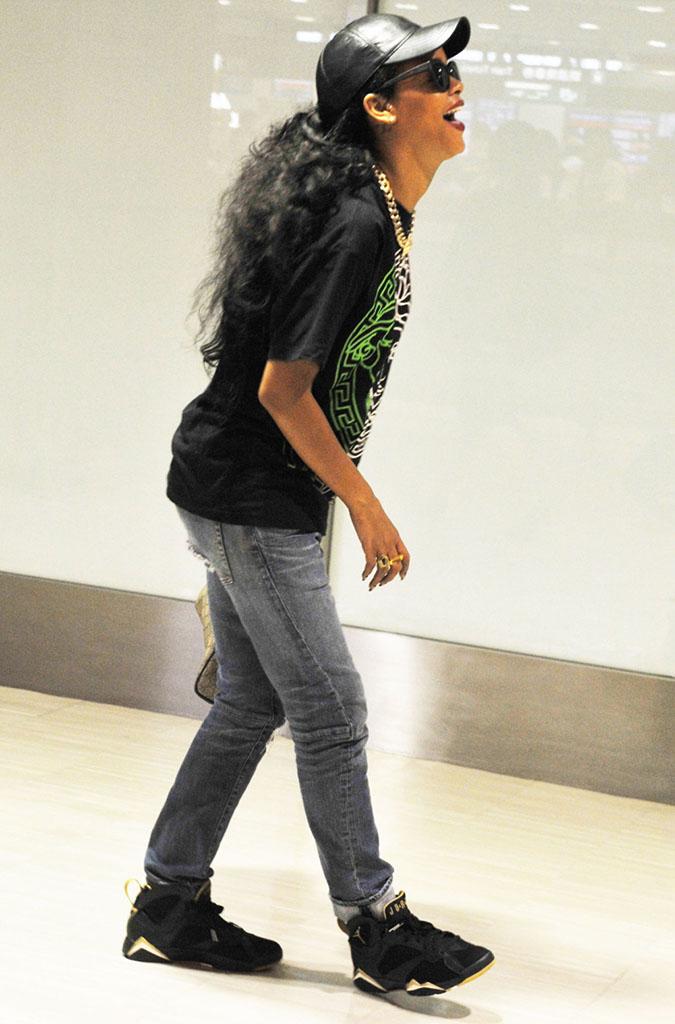 newest 99343 25eae Rihanna wearing Air Jordan VII 7 Golden Moments GMP (6)
