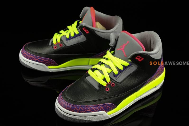 Air Jordan 3 Retro Gs Noir Violet Volt