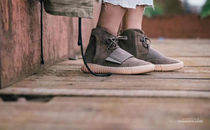 7c6bf169 Image via 1000 Sneakers · Chocolate Yeezy 750 Boosts On Feet 6