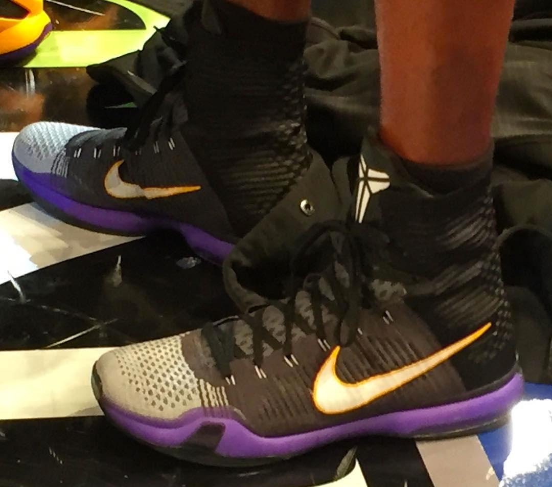 watch 37f0c 396a8 Kobe Bryant wearing Black White Toe Nike Kobe 10 Elite Lakers PE at Madison  Square