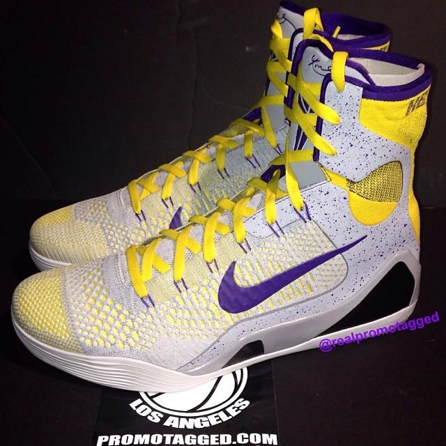 SoleWatch  Kobe Bryant Wears Nike Kobe 9 Elite  Lakers  PE  cde7d1321298