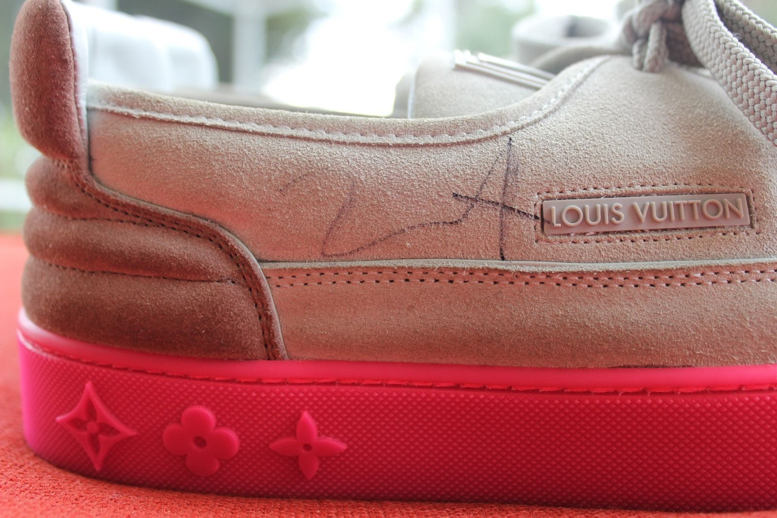 082543070 Kids Selling Kanye West Signed Louis Vuitton Hudson Sneakers Right Autograph