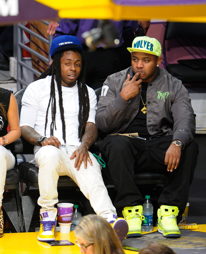 Lil' Wayne wearing Air Jordan 1 Mid Lakers (2)