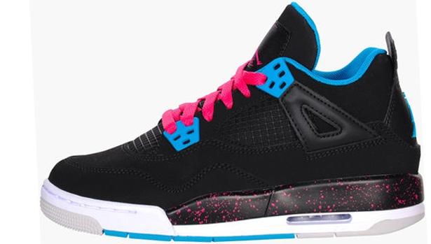 Girls Air Jordan 4 Retro GS Black/Vivid Pink-Dynamic Blue