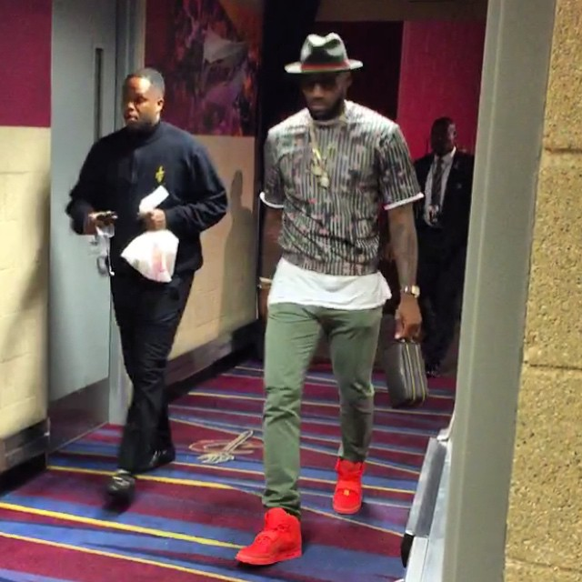 LeBron James wearing the  Red October  Nike Air Yeezy 2 923bb3917e67