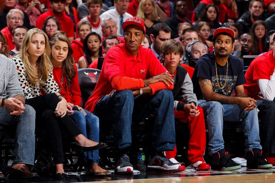 Scottie Pippen wearing Nike Air Trainer Max 1.3; Don C wearing Nike Air Yeezy 2