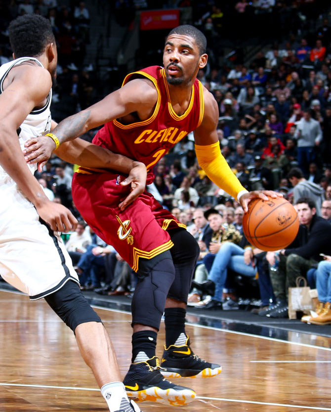 wholesale dealer 2f034 b1218 Kyrie Irving Wearing a Black Yellow-White Nike Kyrie 2 PE (2)