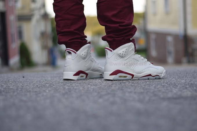 Air Jordan 6 Maroon On-Foot 384664-116 (13)