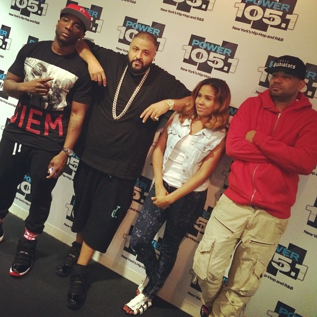 DJ Khaled wearing Air Jordan XI 11 Gamma Blue; Charlamagne wearing Air Jordan XI 11 Bred