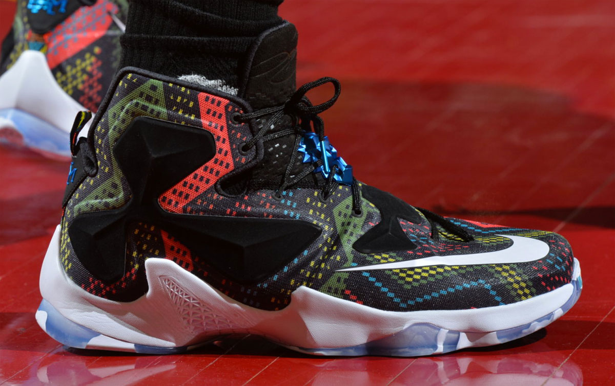 online store f317c fde48 LeBron James Wearing the  BHM  Nike LeBron 13 (1)