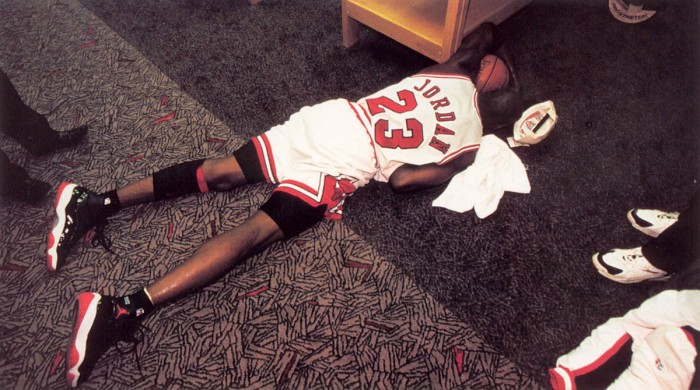 Michael Jordan wearing Air Jordan XI 11 Black/Red Bred