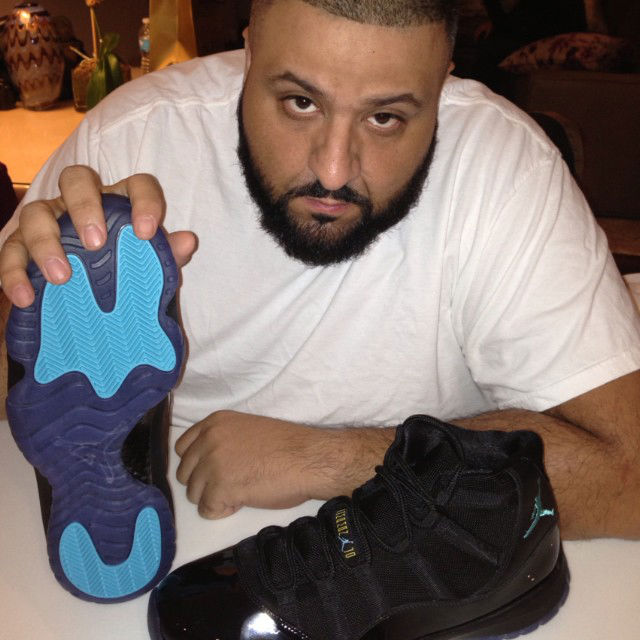 DJ Khaled wearing Air Jordan 11 XI Retro Gamma Blue