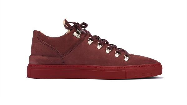 filling pieces amsterdam mountain cut trainer in all burgundy profile