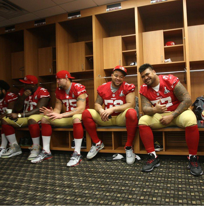 Anthony Davis wearing Nike Air Yeezy; Alex Boone wearing Nike Free Trainer 5.0; Mike Iupati wearing Jordan Super.Fly