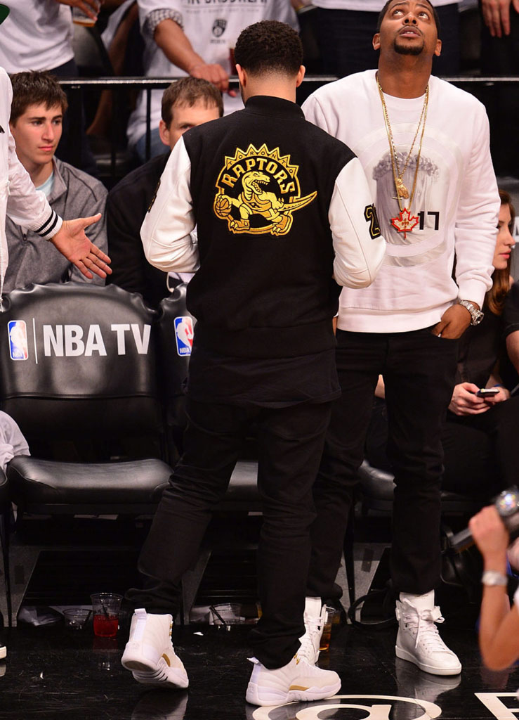Drake Wearing White 'OVO' Air Jordan 12 (2)