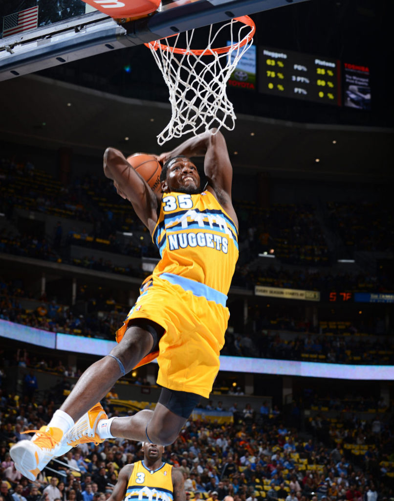 Kenneth Faried wearing adidas adizero Ghost 2 White Yellow