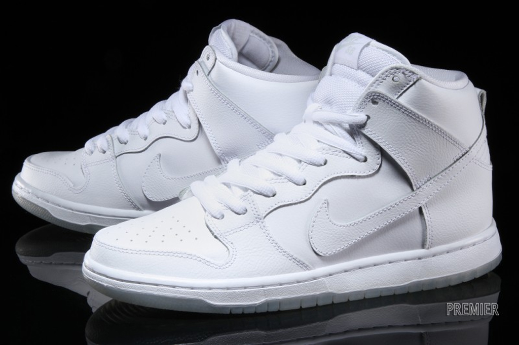 all white nike dunk hi