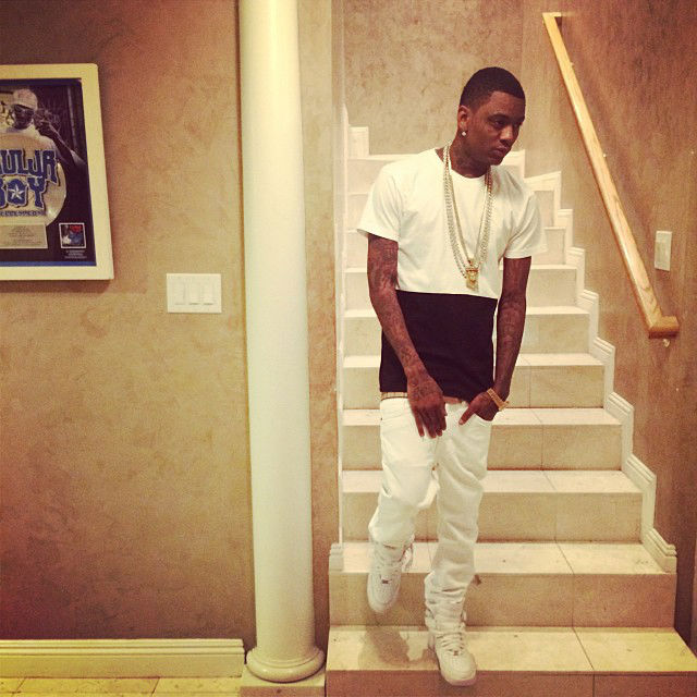 Soulja Boy wearing Nike Air Force 1 Mid White