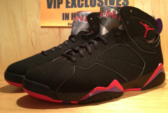 sports shoes 9d6dc a6810 Air Jordan 7 Retro - Black True Red-Dark Charcoal-Club Purple - Detailed  Look