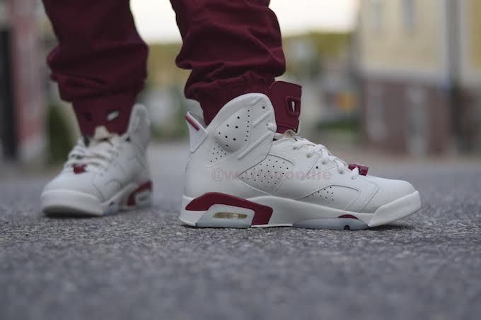 Air Jordan 6 Maroon On-Foot 384664-116 (8)