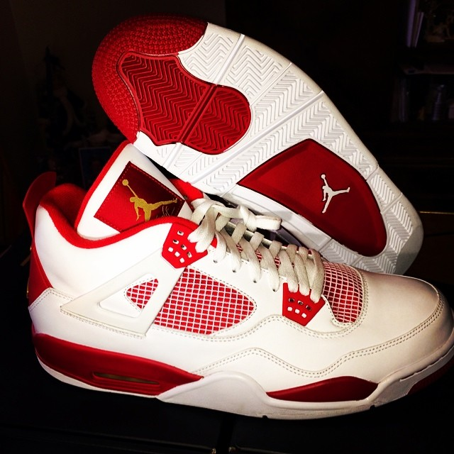 Air Jordan IV 4 White/Red-Gold Carmelo Anthony PE