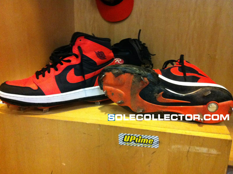 b2e58d73877 Orioles Pitcher Jeremy Guthrie Wears Custom Air Jordan I Cleats ...