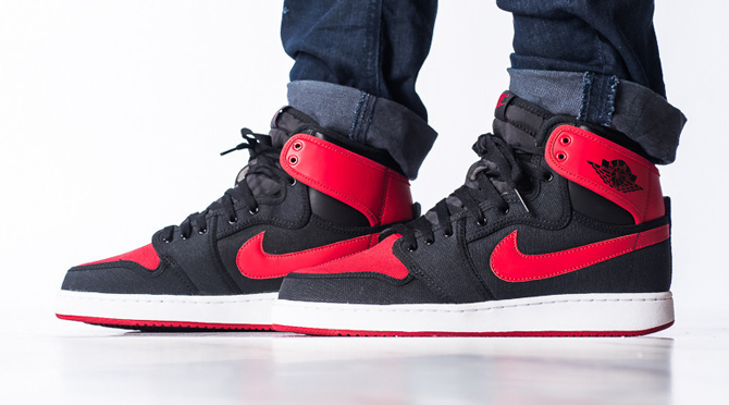 outlet store fcd2f bbaa6 Bred Jordan 1 KOs On Feet