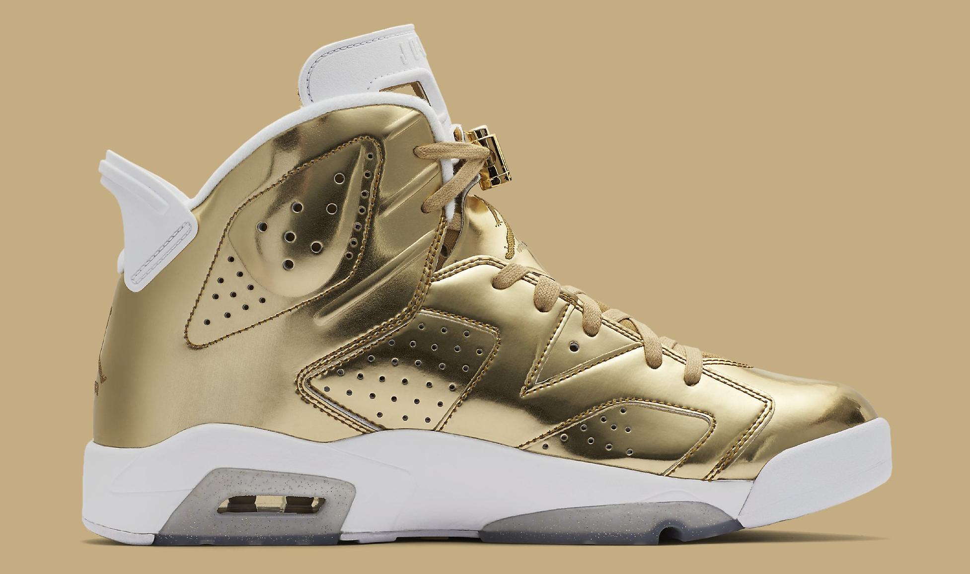 4fbb9fb372f4cb Image via Nike Gold Pinnacle Air Jordan 6 854271-730 Medial