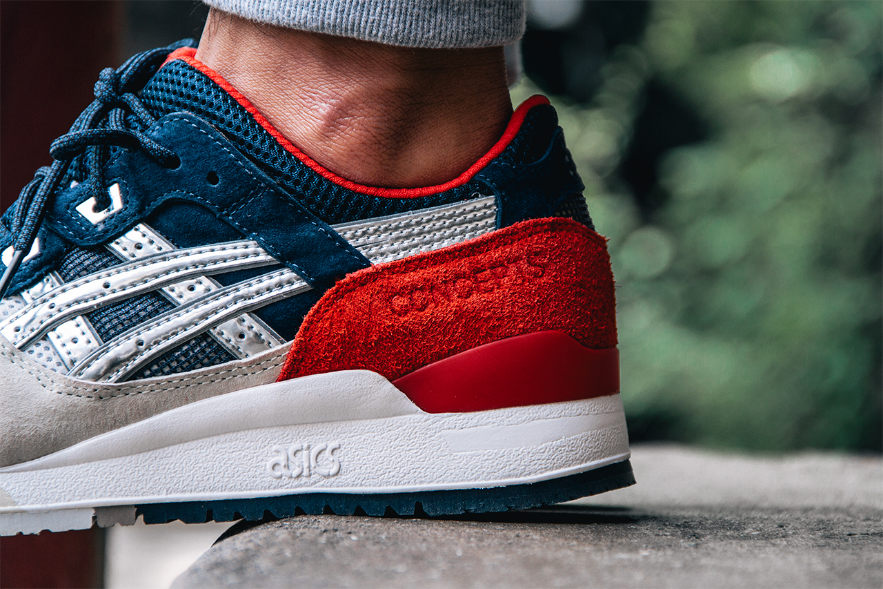 see how the cncpts x asics gel lyte iii 39 boston tea party 39 looks on feet sole collector. Black Bedroom Furniture Sets. Home Design Ideas