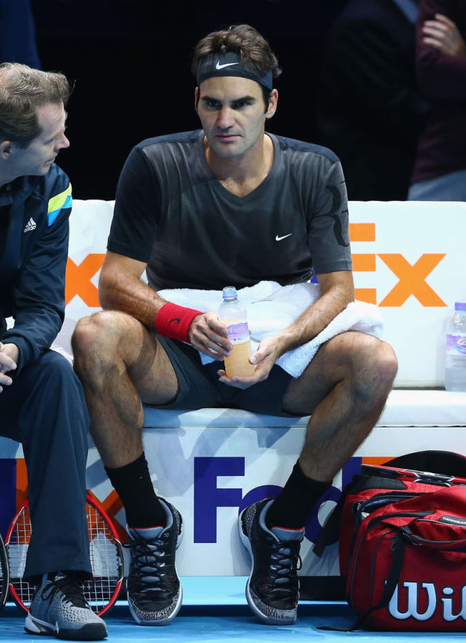 44744dd4816c65 SoleWatch  Roger Federer Wears  Black Cement  Nike Zoom Vapor Air ...