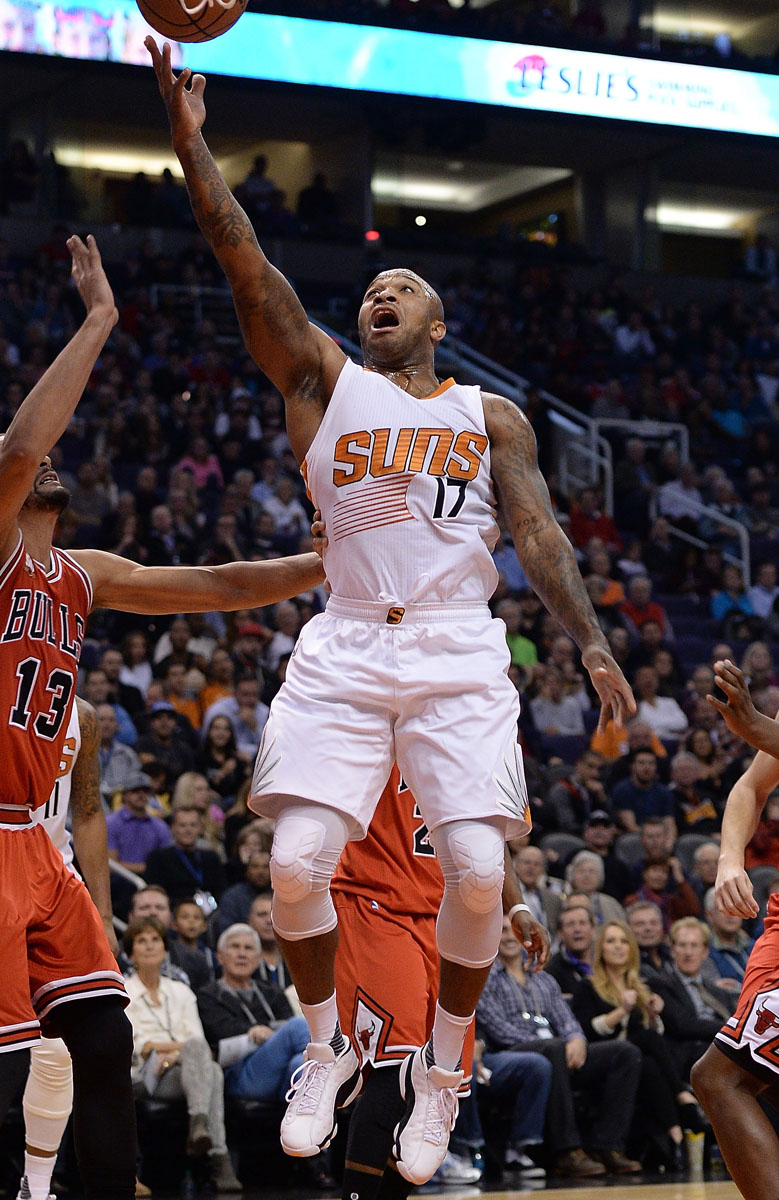 P.J. Tucker wearing the 'White Maize' Air Jordan 13 Low (2)